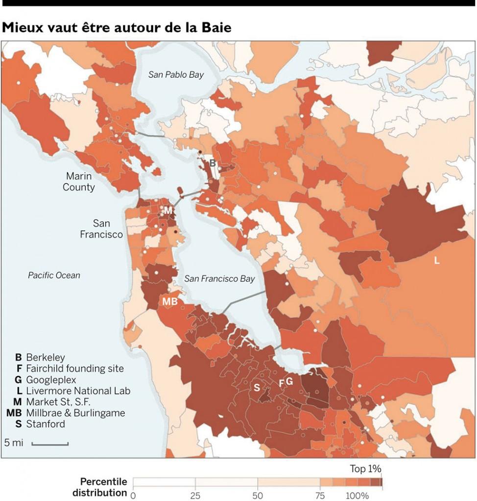 Cartographie de la qualité entrepreneuriale par code postal [ZIP code]. Baie de San Francisco. Les points indiquent les codes postaux associes a une adresse unique.