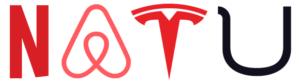 Logo des NATU. Il s'agit des premières lettres des entreprises Netflix, Airbnb, Tesla et Uber en Silicon Valley