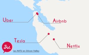 Carte des Natu et de leur siège social en Silicon Valley San Francisco (Netflix, Airbnb, Tesla, Uber)