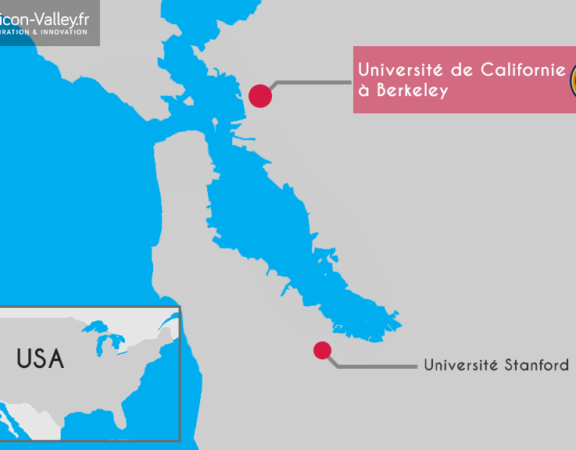 Carte Silicon Valley et université Stanford et université de Californie à Berkeley