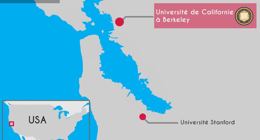 Carte Silicon Valley et université Stanford et université de Californie à Berkeley