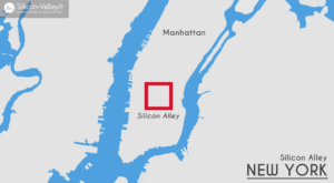 carte new york représentant la silicon alley à manhattan