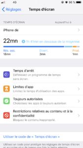 Gestionnaire de temps de la dernière mise à jour iOS 12 nommé Temps d'écran