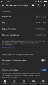 Les nouveaux rapports de temps d'écrans sur Youtube. La durée de visionnage
