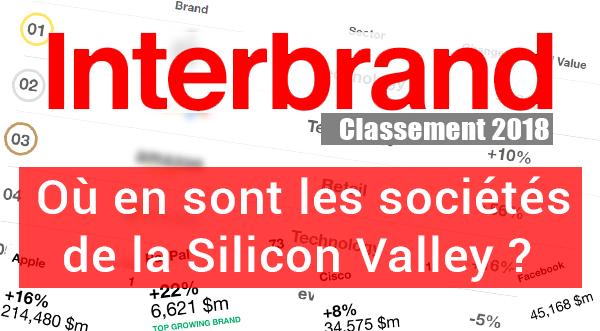 classement Interbrand 2018 les entreprises de la Silicon-Valley