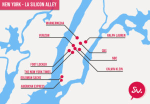 New York et la Silicon Alley avec 10 entreprises avec un siège social dans la ville